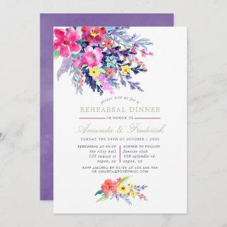 Colorful Watercolor Floral Rehearsal Dinner invite