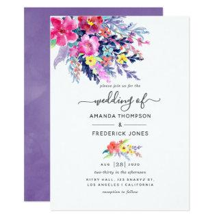 Colorful Watercolor Floral Spring Wedding Invitations
