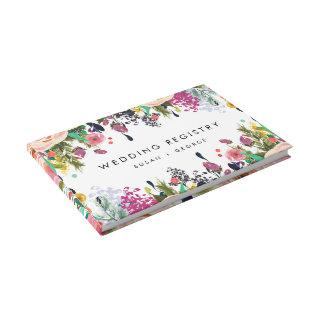 Colorful Watercolor Flower Garden Wedding Guest Book