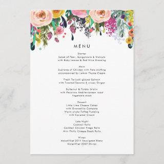 Colorful Watercolor Flower Garden Wedding Menu