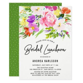 Colorful Watercolor Spring Blooms Bridal Luncheon Invitations