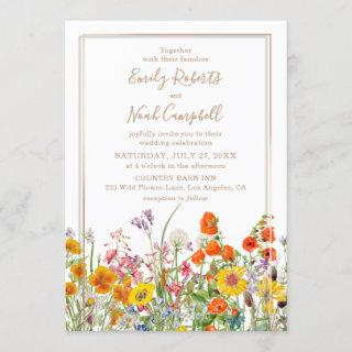 Colorful Wild Flowers Country Wedding Invitation