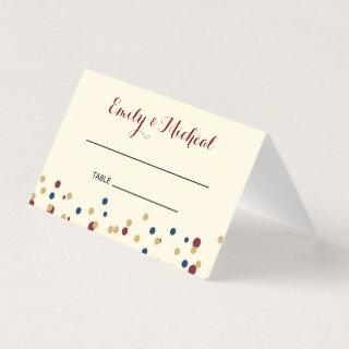 Confetti place card seating red blue gold