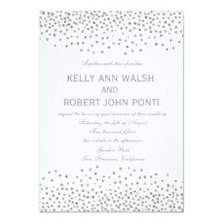 Confetti Silver Dots Elegant Wedding Invitations