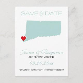 Connecticut State Map Save the Date Announcement Postcard