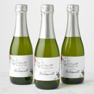 Contemporary Eucalyptus Floral Bridesmaid Proposal Champagne Label