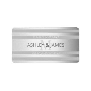 Contemporary Faux Silver Ombre Stripes & Grey Label