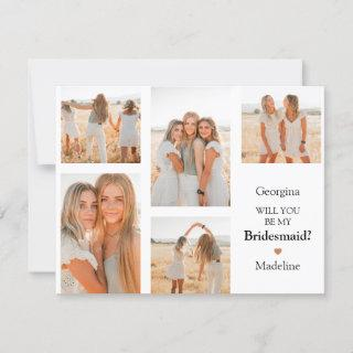 Contemporary Photo Grid Will You Be My Bridesmaid?