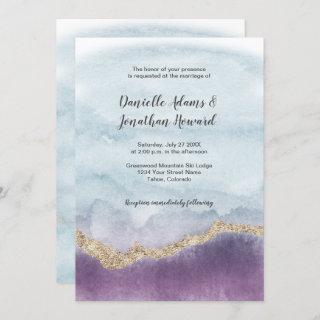 Contemporary Purple Turquoise Gold Marble Wedding Invitations