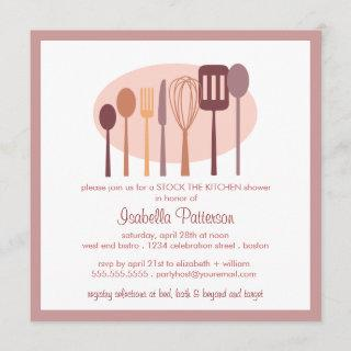 Cooking Utensils Stock the Kitchen Bridal Shower Invitation