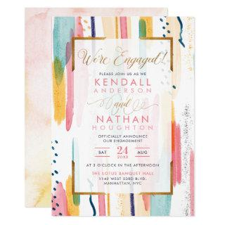Cool Blue Patterned Memphis Chic Engagement Party Invitation