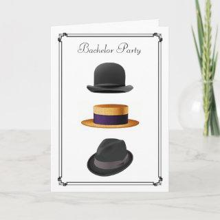 Cool Bowler Straw Fedora Hat  #2  Bachelor Party Invitation