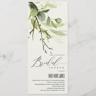 COOL LEAFY GREEN FOLIAGE WATERCOLOR BRIDAL SHOWER