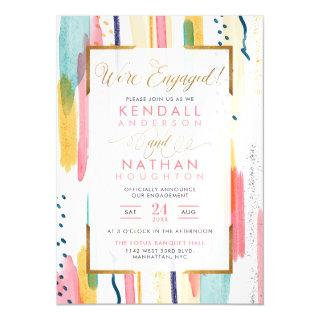 Cool Pink Patterned Memphis Chic Engagement Party Magnetic Invitations