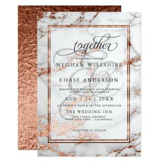 Copper and  Marble Wedding Bold Elegance Invitation