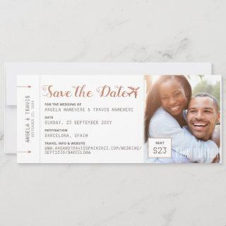 Copper Destination Photo Boarding Pass Save Date