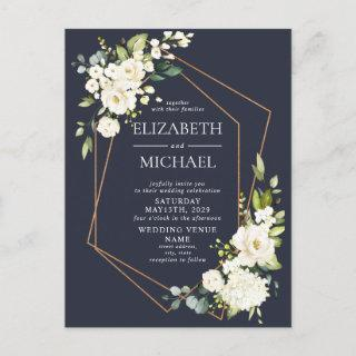 Copper Geometric Blue White Floral Wedding Announcement Postcard