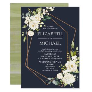 Copper Geometric Blue White Floral  Wedding Invitation