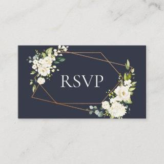 Copper Geometric Blue White Floral Wedding RSVP Enclosure Card