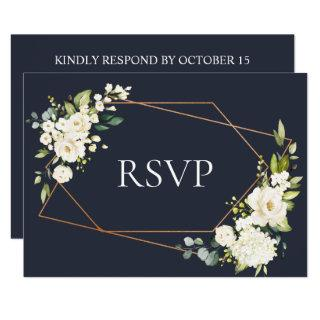 Copper Geometric Blue White Floral Wedding RSVP Invitation