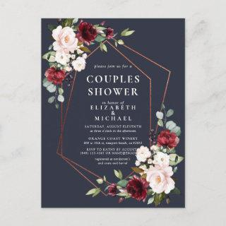 Copper Geometric Burgundy Blue Couples Shower Announcement Postcard