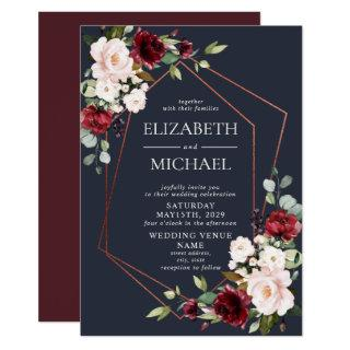 Copper Geometric Burgundy Blue Floral  Wedding Invitation