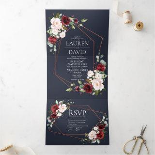 Copper Geometric Burgundy Blue Floral  Wedding Tri-Fold Invitation