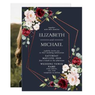 Copper Geometric Burgundy Blue Photo Wedding Invitations