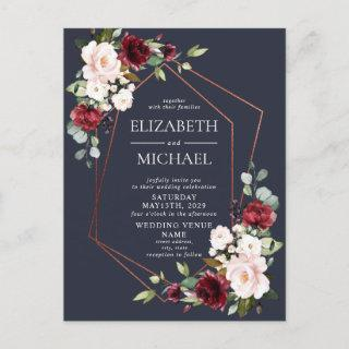 Copper Geometric Burgundy Blue Postcard Wedding