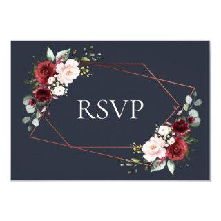 Copper Geometric Burgundy Blue Wedding RSVP Invitations