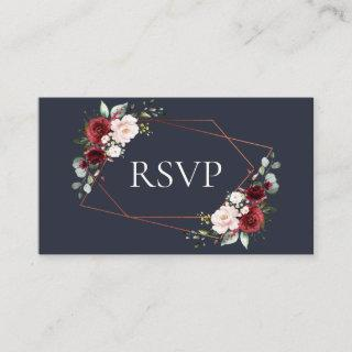 Copper Geometric Burgundy Navy Blue Wedding RSVP Enclosure Card