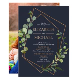Copper Geometric Eucalyptus Blue Elegant Photo Invitations