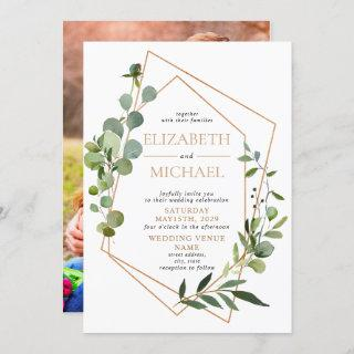 Copper Geometric Eucalyptus Elegant Photo Wedding Invitation