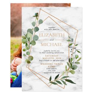 Copper Geometric Eucalyptus Marble Elegant Photo Invitation