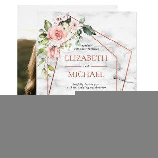 Copper Geometric Marble Pink Floral Wedding Invitations