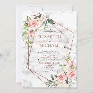 Copper Geometric Marble Pink Floral Wedding