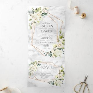Copper Geometric Marble White Floral Wedding Tri-Fold Invitation