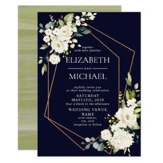 Copper Geometric Navy Blue White Floral  Wedding Invitations