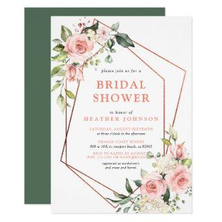 Copper Geometric Pink Floral Eucalyptus Shower Invitations