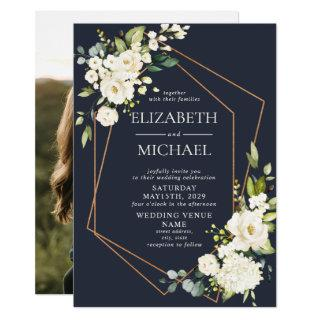 Copper Geometric White Blue Elegant Photo Wedding Invitation