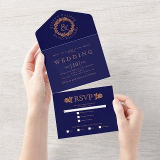 Copper glitter rose wreath on navy blue wedding  all in one invitation
