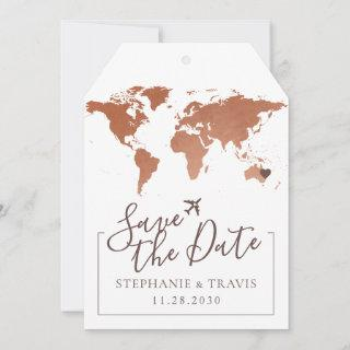 Copper Map Destination Luggage Tag Save the Date