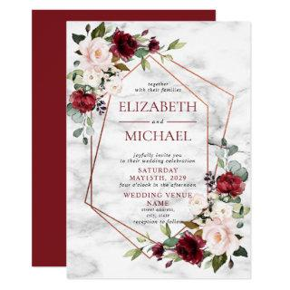 Copper Marble Geometric Burgundy Floral Wedding Invitations