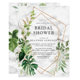 Copper Marble Geometric Tropical Gold Shower Invitation