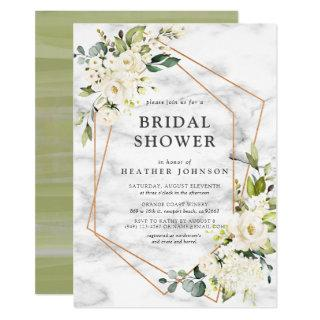 Copper Marble Geometric White Floral Bridal Shower Invitations