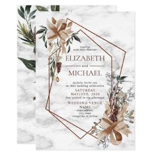 Copper Marble Geometric Winter Greenery Wedding Invitations