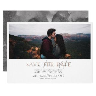 COPPER TYPOGRAPHY Photo Wedding Save the Date Invitations