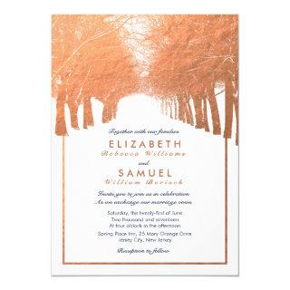 Copper Winter Trees Avenue Navy Wedding Invitations