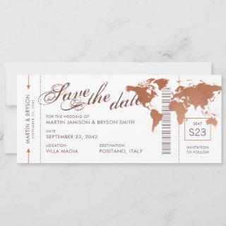 Copper World Map Boarding Pass Save Date Card