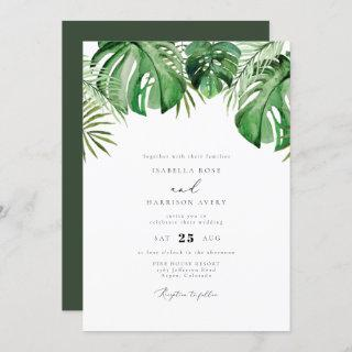 Cora - Tropical Watercolor Palm Leaf Wedding Invitations